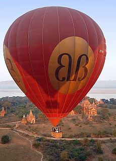 Hot Air Ballooning over thousands of ancient buddhist Temples in Bagan
